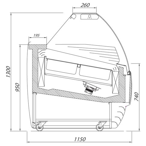 biscotti icecream display cabinet technical drawing