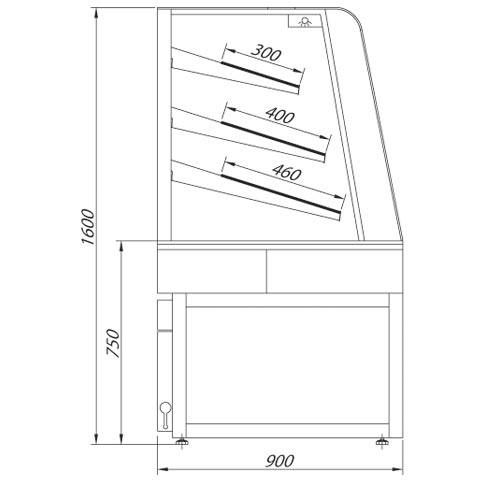 coffee serve over chilled food and beverage counter technical drawing