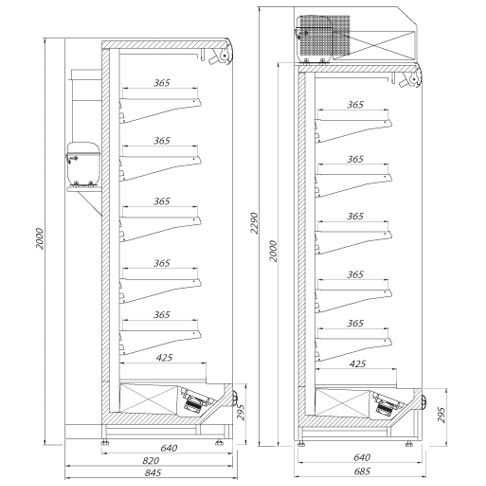 dakar multi deck refrigerated display technical drawings