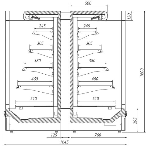 elba multi deck refrigerated display cabinet technical drawing
