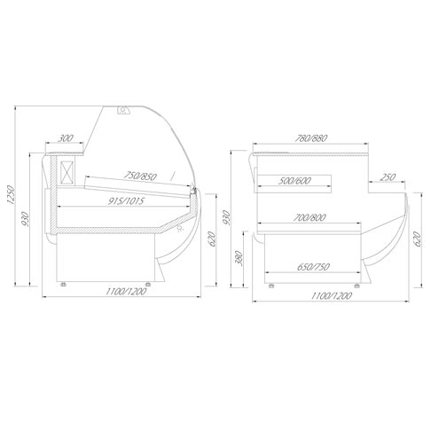 europa serve over chilled food and beverage counter technical drawing