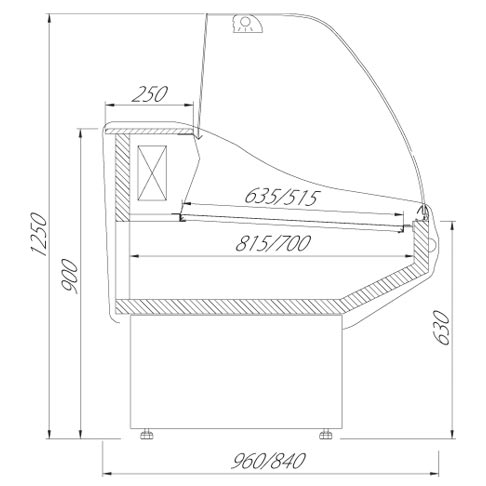 jordani serve over chilled food and beverage counter technical drawing