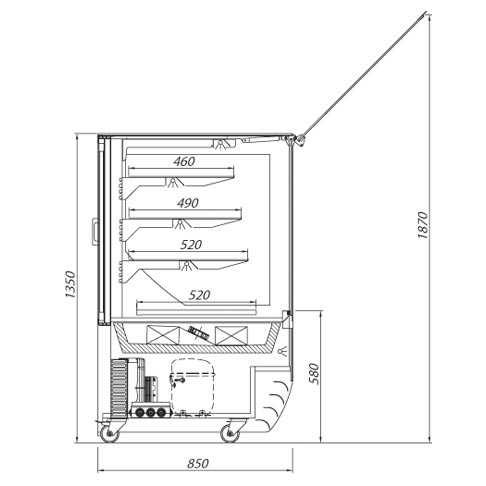 magnum serve over chilled food and beverage counter technical drawing