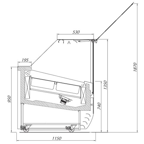 magnum ice ice cream display cabinet technical drawing