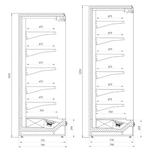 prague maxi slim multi deck chiller display cabinet technical drawing