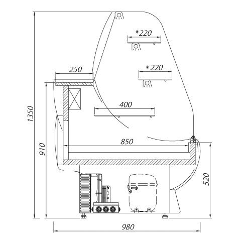 nugatti serve over chilled food and beverage counter technical drawing