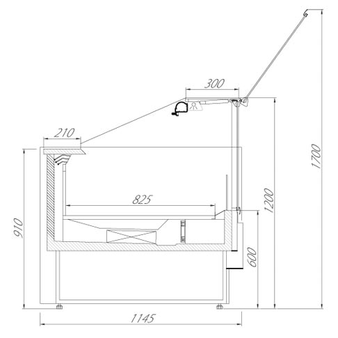 olimpia serve over chilled food and beverage counter technical drawing