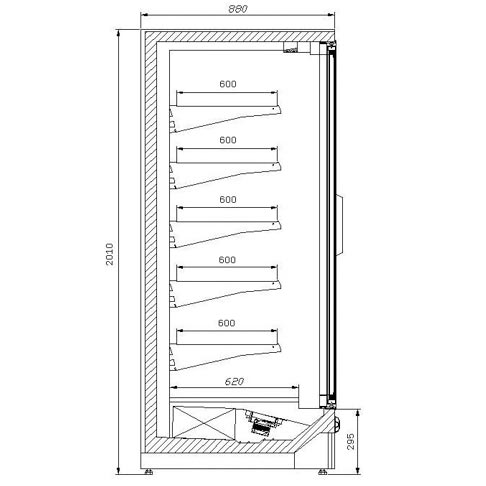 oslo display freezer technical drawing