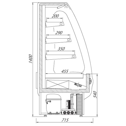 picolli multi deck refrigerated display cabinet technical drawing
