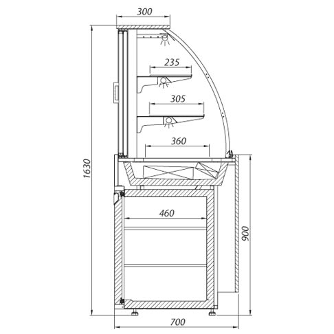 refrigerated display counter for beverages and food technical drawing