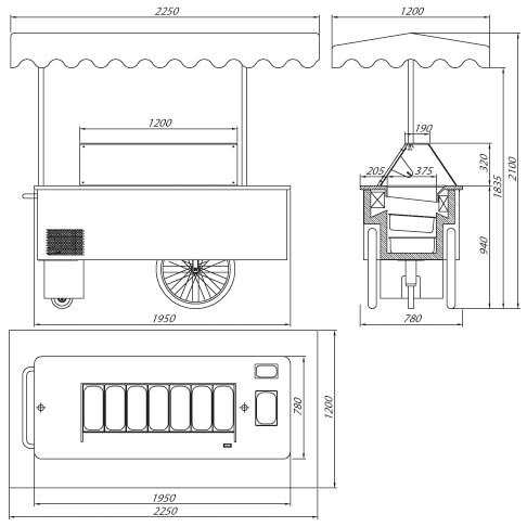 riksha ice cream server stall technical drawing
