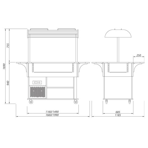 self serve saladette display technical drawing