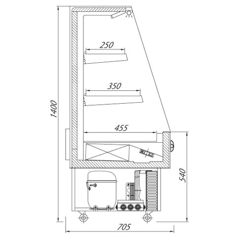 smart multi deck refrigerated display cabinet technical drawing