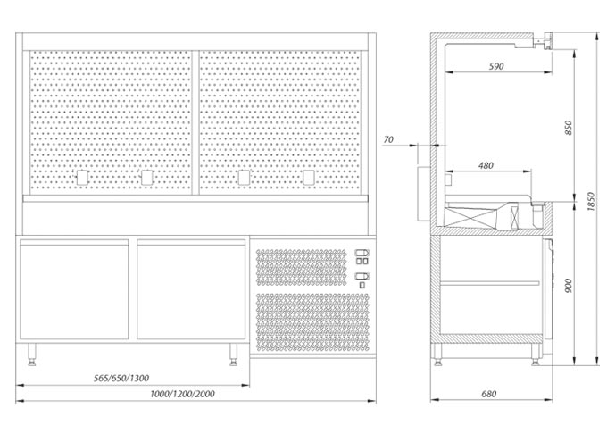 table serving rack technical drawing