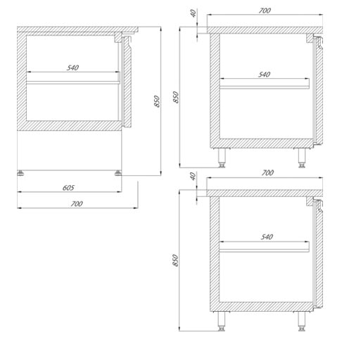 gastronomy tables technical drawing