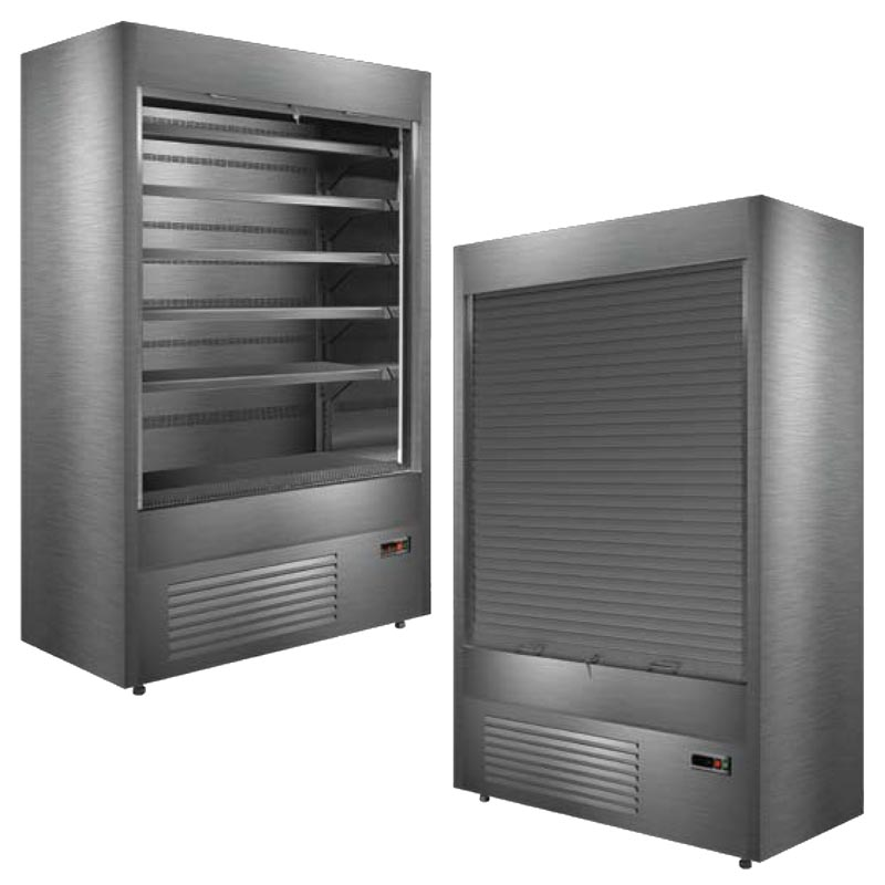varna multi deck refrigerated display cabinet with roller shutter