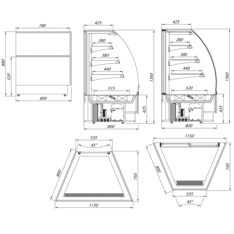 vienna serve over chilled food and beverage counter technical drawing