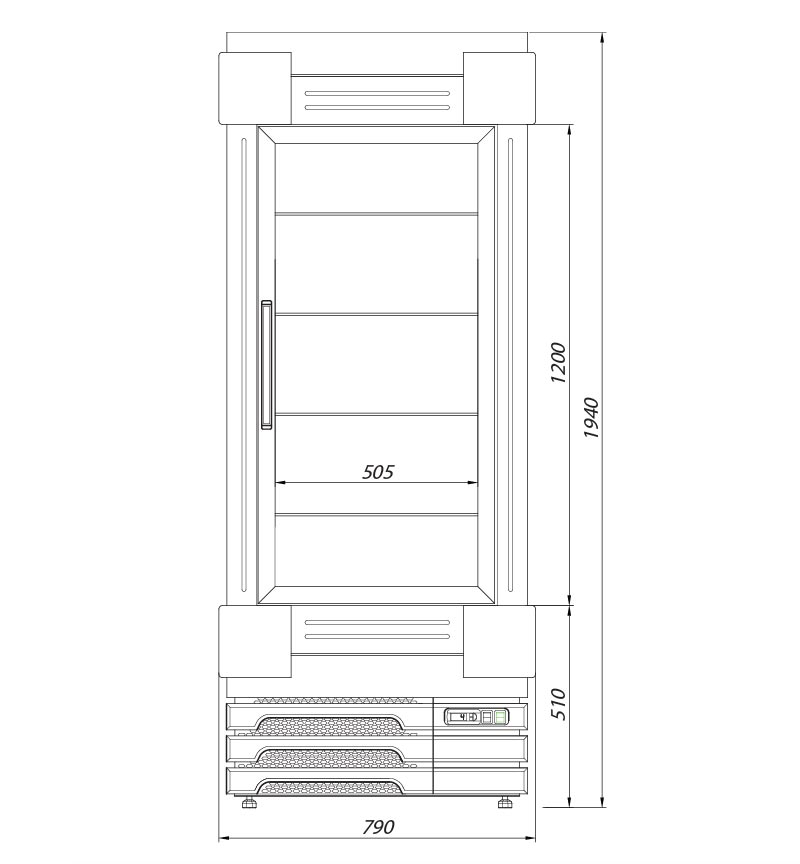 bellissima cupbard patisserie cupboard technical drawing